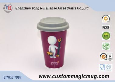 China Red Porcelain Beverage Thermos Starbucks Ceramic Travel Mug With Silicone Lids supplier