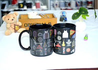 China Popular Black Reactive Color Changing Ceramic Mug , Lovely Magic Heat Mug company