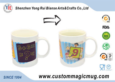 China White Heat Sensitive Magic Mug , Advertising Custom Colour Changing Mugs distributor