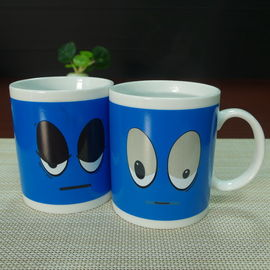 China Souvenir gift  blue big eyes ceramic mugs stocked white porcelain distributor