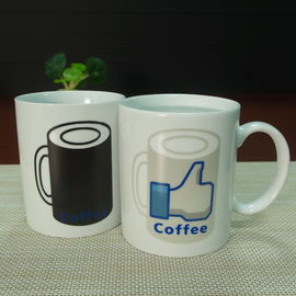 China White ceramic heat sensitive color changing mugs custom company logo distributor
