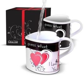 China 280ml Ceramic coffee mugs for couples / create heart shaped handle mug distributor