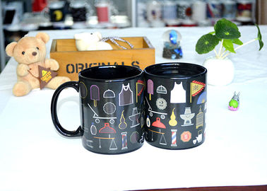 China Popular Black Reactive Color Changing Ceramic Mug , Lovely Magic Heat Mug distributor