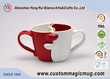 China Fashion Novelty Porcelain Couples Coffee Mugs , Heat Sensitive Magic Mug distributor