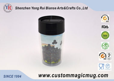 China Heat Sensitive Color Changing Plastic Cups , Double Wall Travel Magic Mug distributor