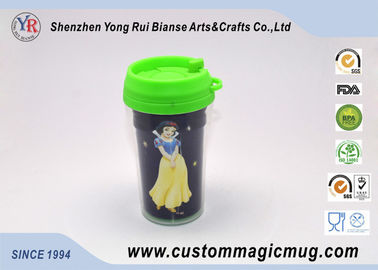 China Starbucks Cartoon Decoration Lovely Double Layer Plastic Cups With Lids distributor