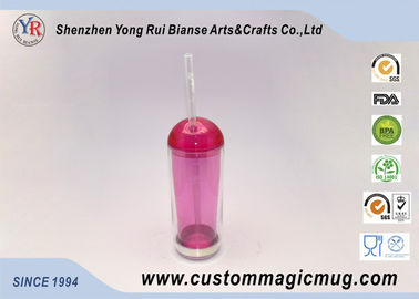 China Stadium Ice Cold Double Layer Plastic Drinking Cups With Straw And Lid distributor