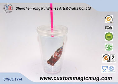 China Single Layer Plastic Straw Cup With Lid , Large Reusable Plastic Cups 450ml distributor