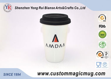 China 350ml Double Wall Ceramic Mug , Coffee / Tea / Milk Travel Mug With Silicone Lid distributor