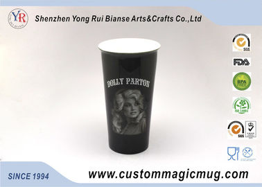 China Color Changing Ceramic Double Walled Travel Mug Provied Customized Logo Pringting distributor