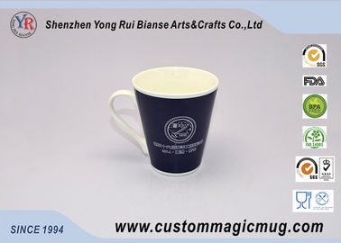 China White Porcelain Color Changing Mug V Shaped Mug Company Promotional Giveaways distributor