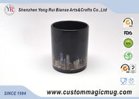 Customized Heat Reactive Coffee Mugs , Porcelain Black Magic Cup