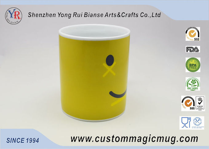 Cute Magic Personalized Kids Mugs , Smile Face Color Change Coffee Cup