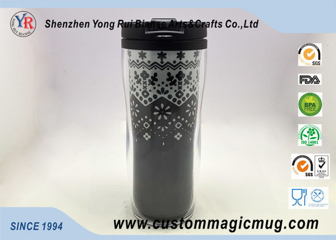 Double Wall Eco Friendly Travel Mugs , Plastic Coffee Cups With Lids 350ml 12oz