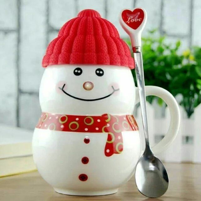 Crramic Innovative Personalised Coffee Mugs Snowman With Lid