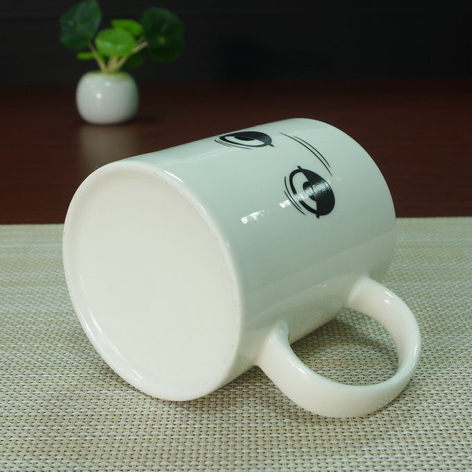 White porcelain wake up heat sensitive color changing mugs drinking