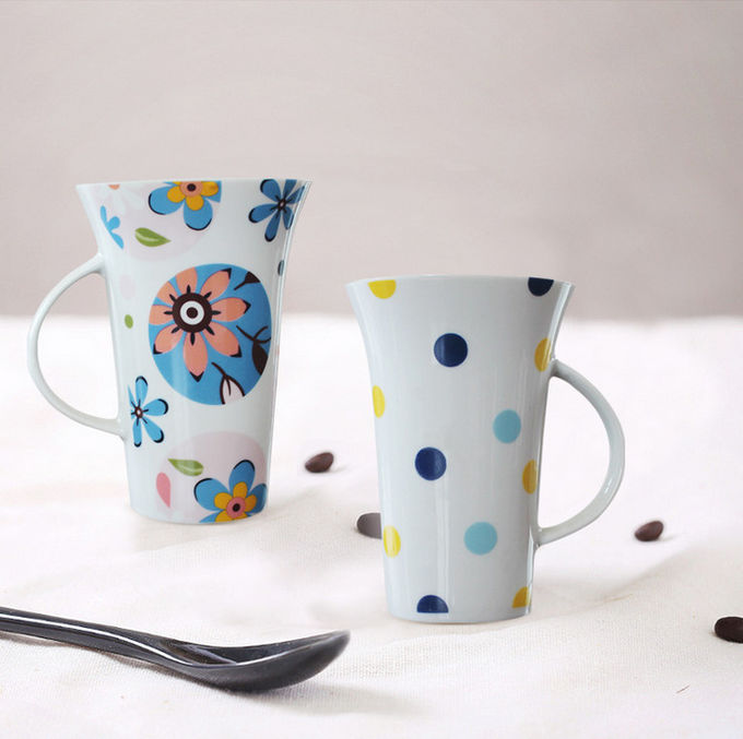 High temperature decal Eco Friendly Mugs / Couples Cup Coffee Mug with spoon