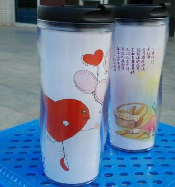 450ML Heat Sensitive Color Change Double Wall Plastic Cup SGS Standard