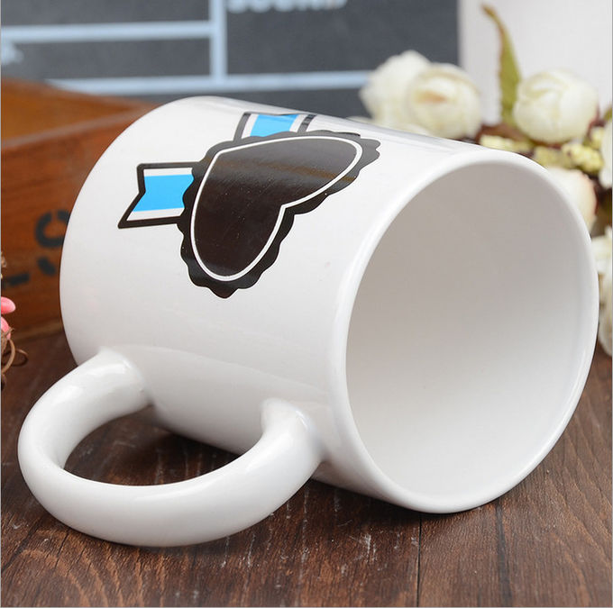 Heart Morph Eco Friendly Mugs , Heating Color Change Magic Mug Printing